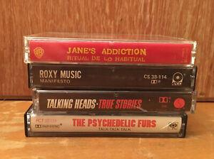 Alternative Rock 80's 4 Cassette Lot- Jane's Addiction Talking Heads Roxy Music