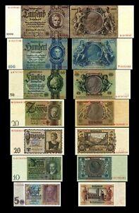 2x 5,10,20,20,50,100,1000 Reichsmark 1929-1945 Deutsche Reichsbank- Reproduktion