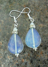 Dangle earrings - 20mm Opalite drop + sparkly collar