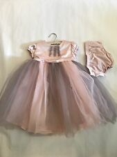 Wendy Bellissimo Infant Girls 24 Months Pink Grey Tulle Princess Satin Dress EUC