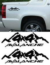 BLACK CHEVY AVALANCHE 4X4 TRUCK BED SIDE STRIPES DECAL SET CUSTOM SIZING