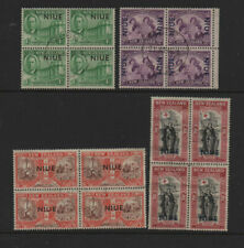 Niue 1946 Victory Peace fine used set as blocks of 4 stamps