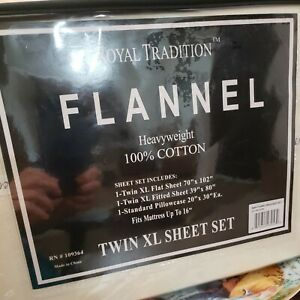 Royal Traditions flannel heavyweight 100%cotton 3 pc twin xl sheet set