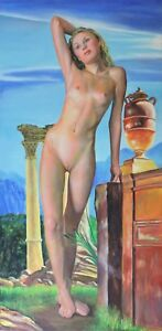 """Nymph by Pan's Altar"" ORIGINAL *18x36* LARGE Stretched Ready to Hang Erotic Art"