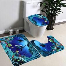3pcs Bathroom Non-Slip Blue Ocean Style Pedestal Rug+Lid Toilet Cover+Bath Mat