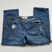 Hollister Denim Capri Womens Size 9 Jeans High Rise Distressed Blue 34 X 24