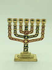 Menorah, metal, design represents the 12 tribes of Israel,  red and black design