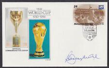 Tuvalu Islands 1986 FDC signed Bobby Moore England Captain Nanumea World Cup
