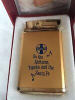 VINTAGE JAPAN ROYAL MUSICAL MR-500 GAS LIGHTER.Atchison,Topeka & the Santa Fe