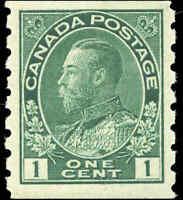 1912 Mint NH Canada 1c F-VF Scott #125 Admiral KGV Coil Stamp