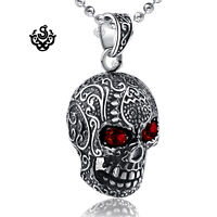 Silver tattooed skull pendant red cz eyes stainless steel ball chain necklace 24