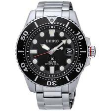 SEIKO MEN'S PROSPEX 44MM STEEL BRACELET & CASE SOLAR BLACK DIAL WATCH SNE437