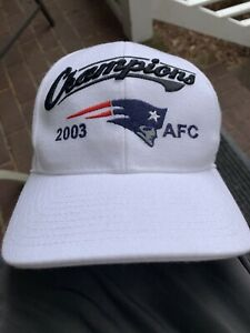 VINTAGE New England PATRIOTS 2003 NFL AFC Champions White Hat by REEBOK Cap RARE