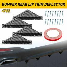 4x Car Rear Lower Bumper Diffuser Splitter Lip Shark Fins Carbon Fiber Universal