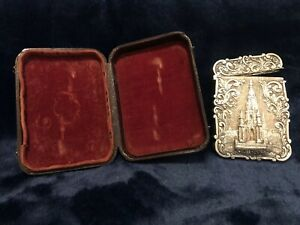 NATHANIEL MILLS ANTIQUE CASTLE TOP SILVER CARD CASE. (CASED) 1844