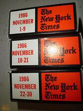 November 1986 New York Times on MICROFILM - 3 reels of film