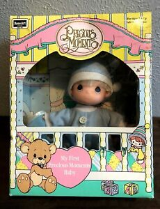 """PRECIOUS MOMENTS MY FIRST BABY BOY DOLL ROSE ART 1992 6 """" VINYL DOLL NEW IN BOX"""
