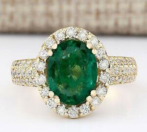 3.47 Carat Natural Emerald 14K Solid Yellow Gold Luxury Diamond Ring