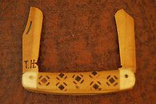 HANDMADE CUSTOM TOM HORNBACK USA 100% WOOD 2 BLADED FOLDING KNIFE NICE (1615)