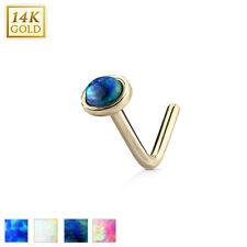 Piercing Naso, Oro Con Opale Blu, Bianco,Emerald-Grün,Fucsia