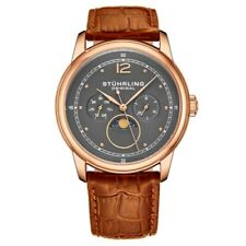 Stuhrling Original 898 04 Celestia Moon Phase Day Date Brown Leather Strap Watch