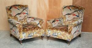 MULBERRY FLYING DUCKS UPHOLSTERED RESTORED PAIR OF VICTORIAN CLUB ARMCHAIRS
