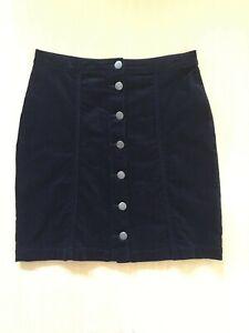 CAPTURE- Needlecord Dark Blue Button Front Skirt - Size 12