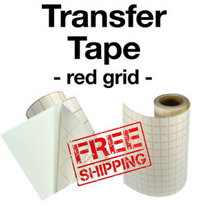 "Red grid transfer Paper Tape for vinyl crafts Hobby roll 12""x5' - BEST SELLER"
