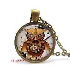 Steampunk owl Cabochon Tibetan Bronze Glass Chain Pendant Necklace gift