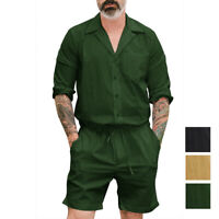 Mode Hommes Combinaison boutonnée pantalon à manches courtes Combi-pantalon été