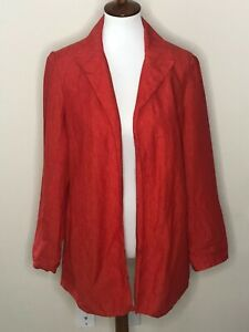 Coldwater Creek Size 8 Red Orange Lined Blazer Long Sleeve 100% Linen