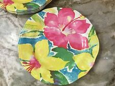 Nicole Miller Melamine Dinner Plates. Colorful Abstract Flowers. Set Of 4. New.
