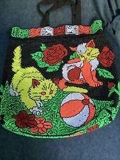 Vintage Colorful Beaded Cat Kitten Ball Tote Bag Hobo Handbag Purse Hong Kong