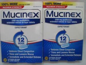 (2)Mucinex 1200mg guaifenesin 28ct each 56 total tablets per.order.exp.7/2022