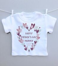 Personalised baby T-shirt top 1st mothers day mummy heart wreath pretty gift