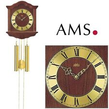 AMS 206/1 Wall Clock with Pendulum, Case Walnut Color Pendulum Living Room