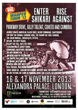 VANS Warped Tour 2013 original UK 15 x 20 cm flyer ENTER SHIKARI RISE AGAINST