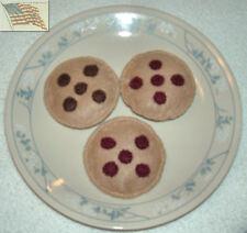 felt food play toys COOKIES 3 CHOCOLATE CHIP children kid pretend