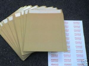 """25 7"""" STRONGEST ALL BOARD PEEL & SEAL BROWN RECORD MAILERS FREE FRAGILELABELS"""
