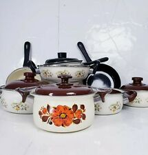 Enamel cookware set Vintage flowers with lots of colors