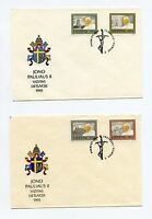POPE JOHN PAUL II 1993 LITHUANIA SET OF TWO FIRST DAY COVERS  AS SHOWN
