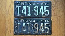 1934 Virginia License Plates Tags Truck Pair VA