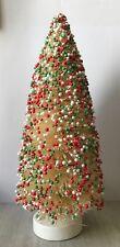 """10"""" Red White & Green Beaded Sisal Bottle Brush CHRISTMAS TREE Snow Village Putz"""