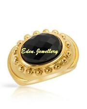 $350 FPJ Attractive Ring 6.66ctw GENUINE Onyx 14K/925 Gold Plated Silver 60% OFF