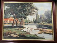 "M Pouler Goffard ""Home And River Landscape Scene"""" Oil Painting - Signed/Framed"