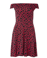 Dorothy Perkins BlackF loral Bardot Dress Size UK 10 TD074 06 G