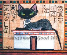 Devon Rex Cat Egyptian art print from original painting mounted Suzanne Le Good