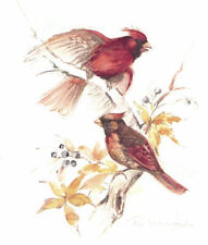 Sgd. Paul Whitney Hunter Litho Cardinals Birds on Branch Mounted to Hang