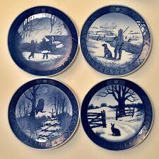 4 Royal Copenhagen Porcelain Blue Christmas Plates Lot 1971 1974 1977 1987