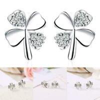 Glücksklee Blume Ohrringe für Frauen Silber Stud Hochzeit Modeschmuck Gesch L0Z1